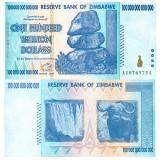 Zimbabwe 100 000 000 000 000 $ 100 Trillion Dollars P91 UNC