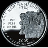 """USA 2000 $0,25 New Hampshire """"D"""" UNC"""