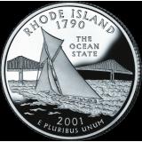 """USA 2001 $0,25 Rhode Island """"D"""" UNC"""
