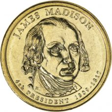 "USA 2007 $1 Presidentti James Madison ""D"" UNC"