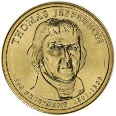 "USA 2007 $1 Presidentti Thomas Jefferson ""D"" UNC"