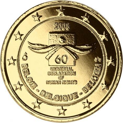 Belgia 2008 2 € Ihmisoikeuksien julistuksen 60. juhlavuosi KULLATTU