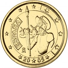 Espanja 2005 2 € Don Quijote KULLATTU