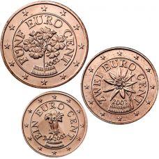 Itävalta 2002 1 c, 2 c, 5 c Irtokolikot UNC