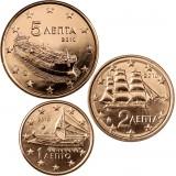 Kreikka 2010 1 c, 2 c, 5 c Irtokolikot UNC