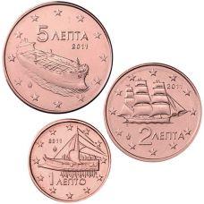Kreikka 2011 1 c, 2 c, 5 c Irtokolikot UNC
