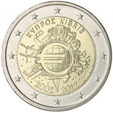 Kypros 2012 2 € Euro 10 vuotta UNC