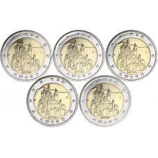 Saksa 2012 2 € Bayern ADFGJ UNC