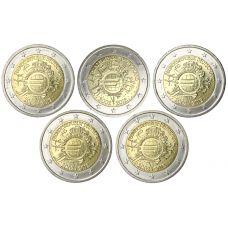 Saksa 2012 2 € Euro 10 vuotta ADFGJ UNC