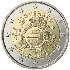 Slovakia 2012 2 € Euro 10 vuotta UNC