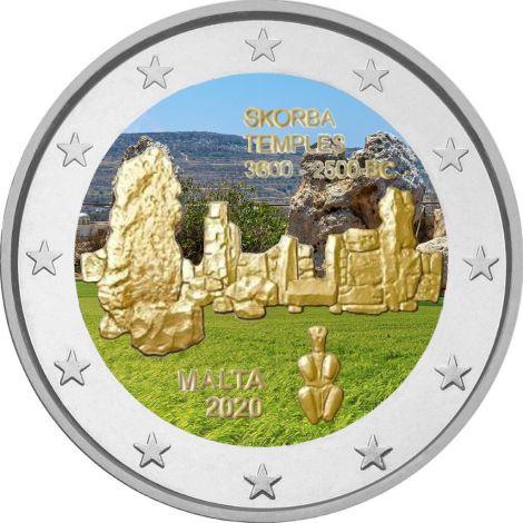 Malta 2020 2 € Skorban temppelit VÄRITETTY