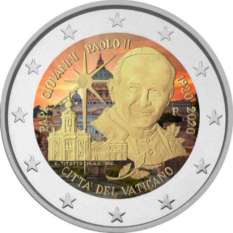 Vatikaani 2020 2 € Johannes Paavali II VÄRITETTY