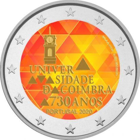 Portugali 2020 2 € Coimbran yliopisto 730 vuotta VÄRITETTY