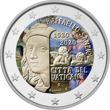 Vatikaani 2020 2 € Raphael Sanzio VÄRITETTY
