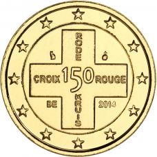 Belgia 2014 2 € Punainen Risti 150v KULLATTU