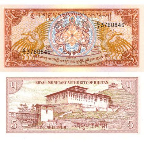 Bhutan 1985 5 Ngultrum P14a UNC