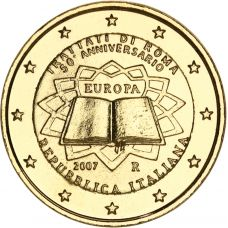 Italia 2007 2 € Rooman sopimus KULLATTU