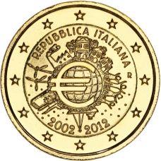 Italia 2012 2 € Euro 10 vuotta KULLATTU