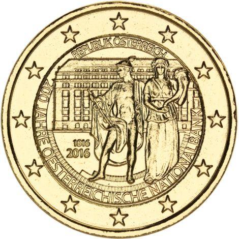 Itävalta 2016 2 € Itävallan keskuspankki 200v KULLATTU