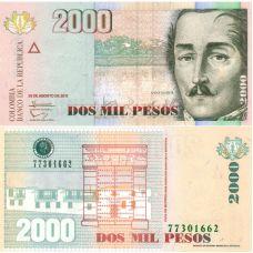 Kolumbia 2013 2000 Pesos P457u UNC