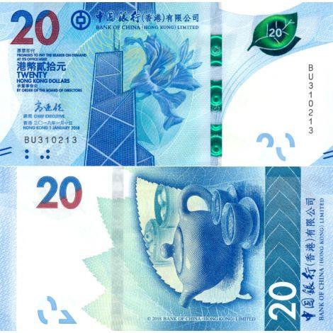 Hong Kong 2018 20 Dollars P348a UNC