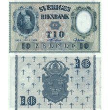 Ruotsi 1959 10 Kronor P43g UNC