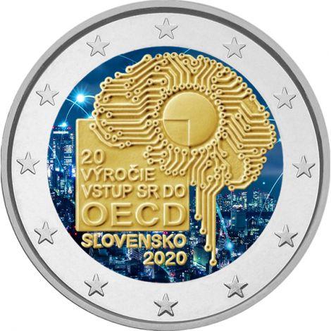 Slovakia 2020 2 € OECD 20 vuotta VÄRITETTY