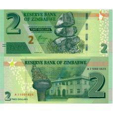 Zimbabwe 2019 2 Dollar P99b UNC