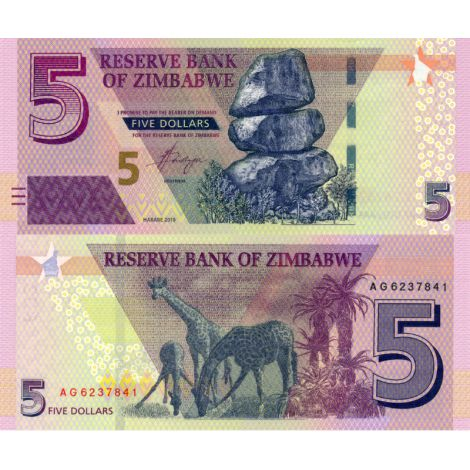 Zimbabwe 2019 5 Dollar P100b UNC