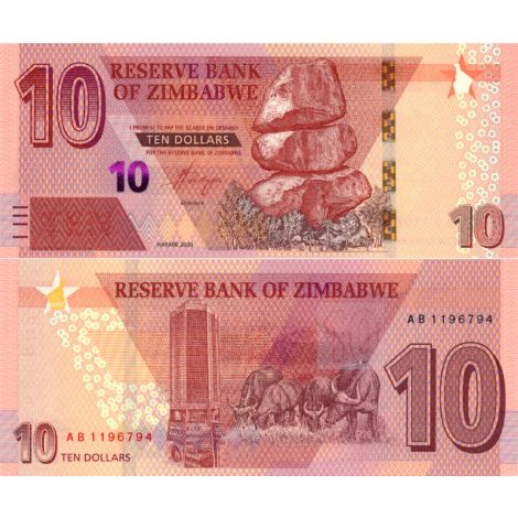 Zimbabwe 2020 10 Dollar P101a UNC
