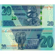 Zimbabwe 2020 20 Dollar P102a UNC