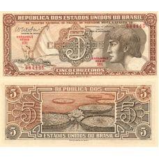 Brasilia 1962 5 Cruzeiros P166b UNC