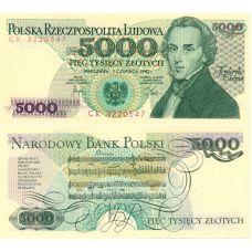 Puola 1982 5000 Zlotych P150a UNC