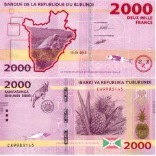 Burundi 2015 2000 Francs P52a UNC