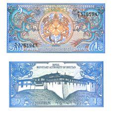Bhutan 1986 1 Ngultrum P12b UNC