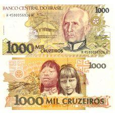 Brasilia 1991 1000 Cruzeiros P231b UNC