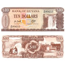 Guyana 1992 10 Dollars P23f UNC