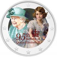 2 € Kuningatar Elisabet II 95 vuotta VÄRITETTY