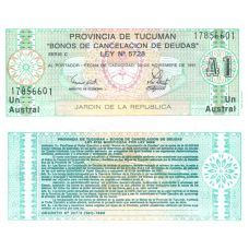 Argentiina Tucuman 1991 1 Austral PS2711b1 UNC