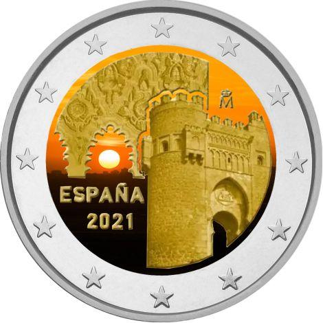 Espanja 2021 2 € Toledo VÄRITETTY