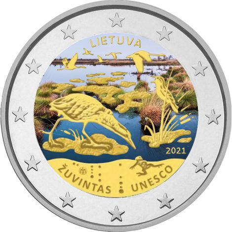 Liettua 2021 2 € Žuvintasin biosfäärialue VÄRITETTY
