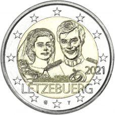 """Luxemburg 2021 2 € Henrin avioliitto 40v - reliefi """"silta"""" UNC"""