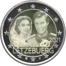 Luxemburg 2021 2 € Henrin avioliitto 40v - valokuva UNC