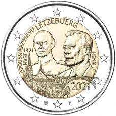 "Luxemburg 2021 2 € Suurherttua Jean 100v - reliefi ""silta"" UNC"