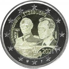 Luxemburg 2021 2 € Suurherttua Jean 100v - valokuva UNC