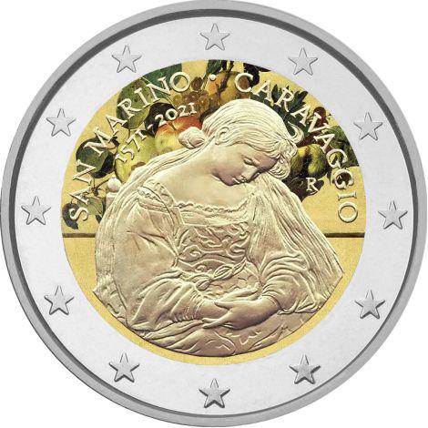 San Marino 2021 2 € Caravaggio #2 VÄRITETTY