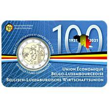 Belgia 2021 2 € Talousliitto 100 vuotta FR COINCARD