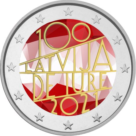 Latvia 2021 2 € De iure 100v VÄRITETTY