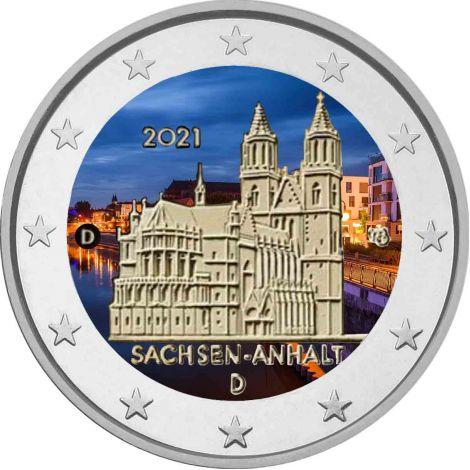 Saksa 2021 2 € Sachsen-Anhalt #2 VÄRITETTY