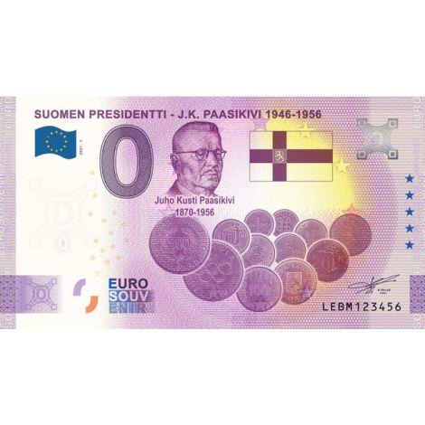 Suomi 2021 0 € J.K. Paasikivi (LEBM 2021-7) UNC
